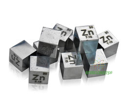 Zinc metal density cube 99.99% shiny surface