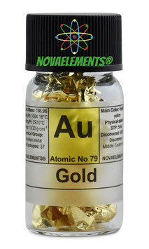 Gold metal element 79 sample foil fulfilled vial 24K 99,99%