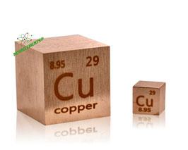Copper metal 25.4mm cube 99.99% (1 inch)