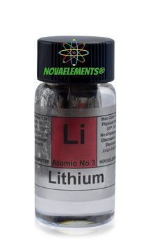 Lithium metal 1 gram in glass vial 99,95%