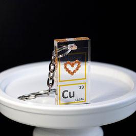Copper heart keychain
