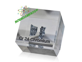 Chromium metal shiny pieces 99,9% casted in acrylic cube