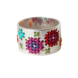 Geborduurde ring Basic C - happy hours