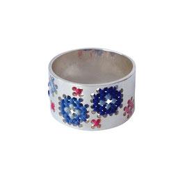 Geborduurde ring blauw/roze