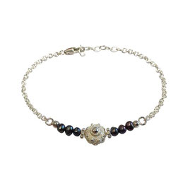 Zeeuwse knoop armband zilver - zwarte parels