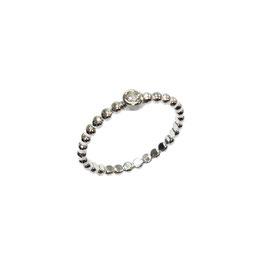 Zilveren  bolletjes ring zirconia