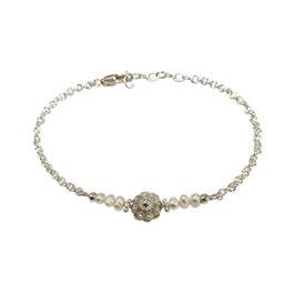 Zeeuwse knoop armband zilver - witte parels