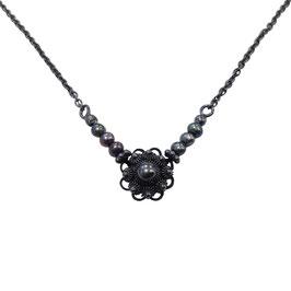 Zeeuwse knoop ketting zwart - zwarte parels