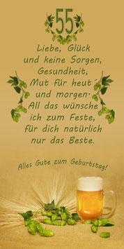 """Klappkarte GTK   zum 55./65. /75 oder 85.  Geburtstag  """"Motiv Hopfen & Bier"""""""