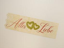 """Geschenkkarte schmal mit dekorative Lochung  """"Alles Liebe"""""""