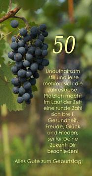 Karte GTK 50 Weinrebe zum runden Geburtstag