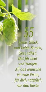 """Klappkarte GTK   zum 55./65. /75 oder 85.  Geburtstag  """"Motiv Hopfen & Zaun"""""""