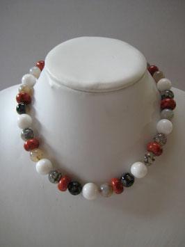 Edelsteinkette Koralle-Jade-Aachat