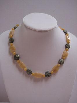 Edelsteinkette Rhyolith-Jade-Aragonit