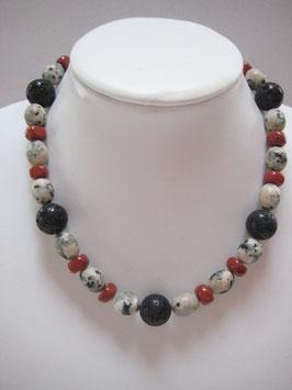 Edelsteinkette Jaspis-Lavastein-Granit