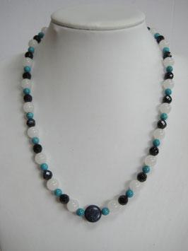 Edelsteinkette Türkis - Jade - Blaufluss