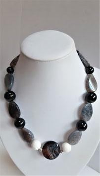 Edelsteinkette Spinnenachat - Jade - Onyx