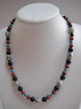 Edelsteinkette  Granit-Türkis-Onyx