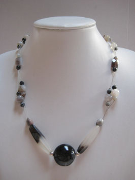 Edelsteinkette Achat-Bergkristall-Sardonyx