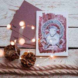 """Postkarte """"Weihnachtsschaf"""""""