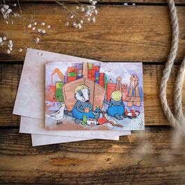 "Postkarte A6 ""Fleißige Hafenarbeiter"""
