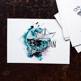 """Postkarte A6 """"Moin"""""""
