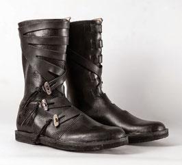 Warjag, Leder Wikinger hohe Schuhe, schwarz