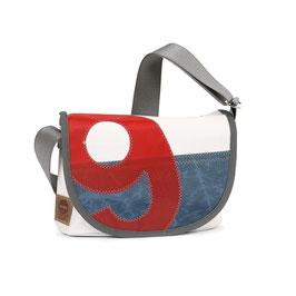 360° Handtasche Perle weiß/blau Zahl rot
