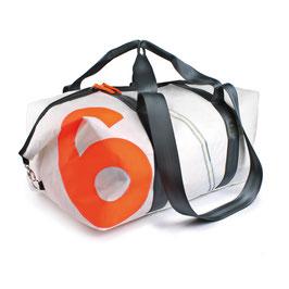 360° Reisetasche Kutter XL weiß Zahl orange