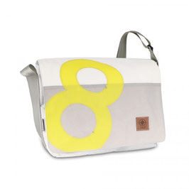 360° Messenger Bag Barkasse L weiß/grau Zahl gelb