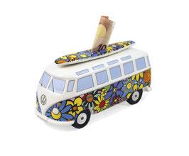 VW T1 Bus Spardose 1:18 mit Surfbrett Flower