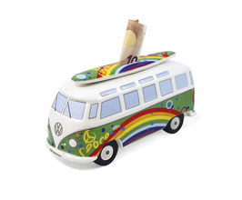 VW T1 Bus Spardose 1:18 mit Surfbrett Peace