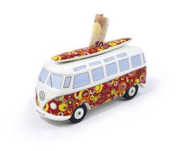 VW T1 Bus Spardose 1:18 mit Surfbrett Bubble
