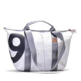 360° Reisetasche Schlepper Mini weiß/grau Zahl grau