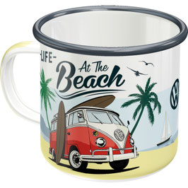 Original VW Bulli T1 Emaille Becher Beach NA