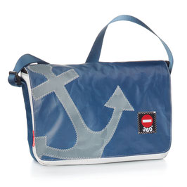360° Messenger Bag Barkasse mini Anker blau/grau