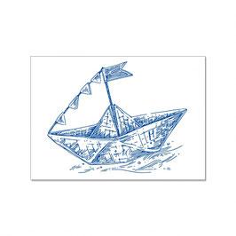 """Maritime Postkarte """"Papierschiffchen"""""""