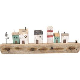 Derbe Holz Garderobe Häuser am Hafen 80cm