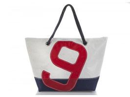 727 Shopper Handtasche Carla weiß/blau Nr. 9 rot