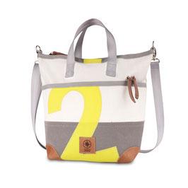 360° Handtasche Mini Deern weiß/grau Persenning Zahl gelb