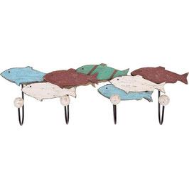 Maritime Holz Garderobe Fischschwarm