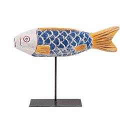 Holzfigur African Fisch L auf Ständer