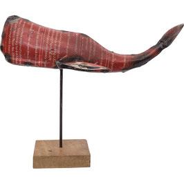 """Dekorativer Wal """"Shabby Barrel"""" auf Ständer aus Metall"""