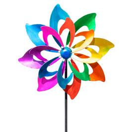 Stilvolles Windspiel Rainbow Flower aus Metall