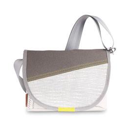 360° Handtasche Perle weiß/grau/gelb Carbon