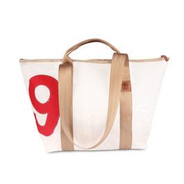 360° Reisetasche Schlepper Mini weiß/beige Zahl rot