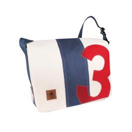 360° Messenger Bag Barkasse L weiß/blau Zahl rot