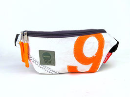 360° Bauchtasche Knoten weiß Zahl orange