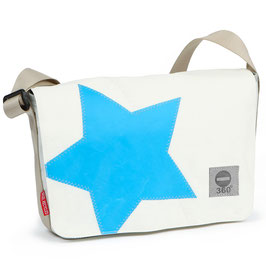 360° Messenger Bag Barkasse mini weiss Stern cyan
