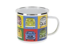 Original VW Bulli T1 Emaille Becher Multicolor